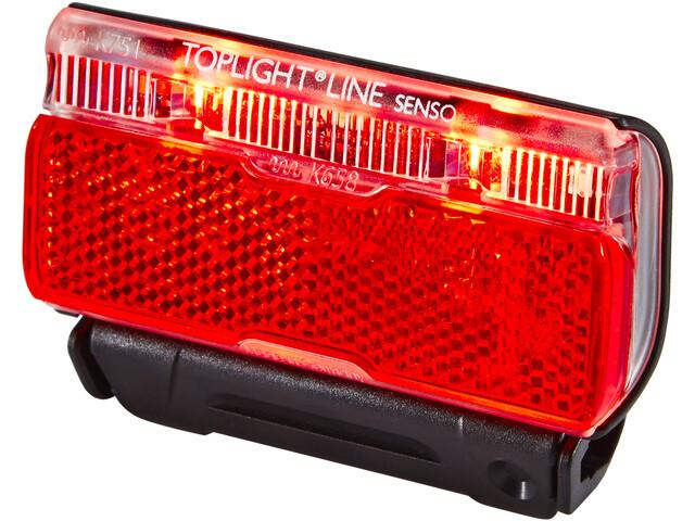 B&M Toplight Line senso Batteri baglygte 50 mm sort/rød (2019)   Rear lights